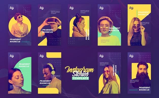 Modèle d'histoires instagram avec des personnes et des appareils numériques