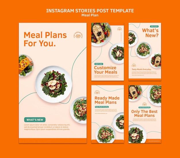 Modèle d'histoires instagram de plans de repas