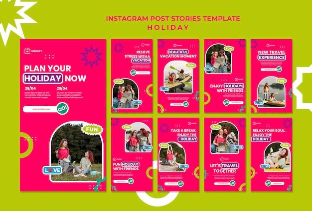 Modèle d'histoires instagram de plans de vacances