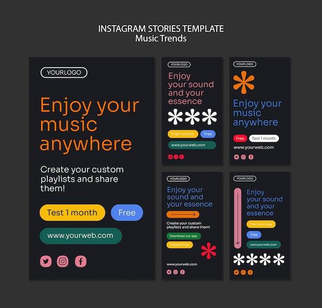 Modèle d'histoires instagram de plate-forme de diffusion de musique