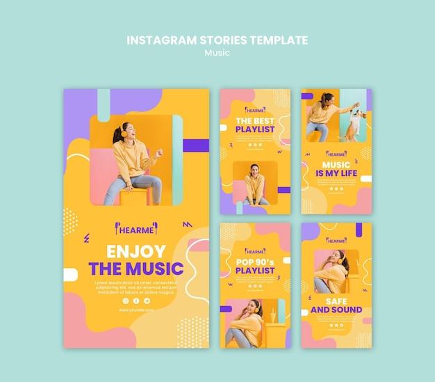 Modèle d'histoires instagram de plate-forme musicale