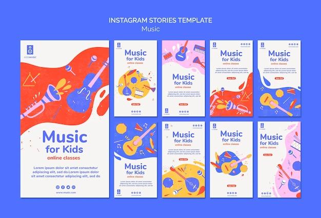 Modèle d'histoires instagram de plate-forme de musique pour enfants