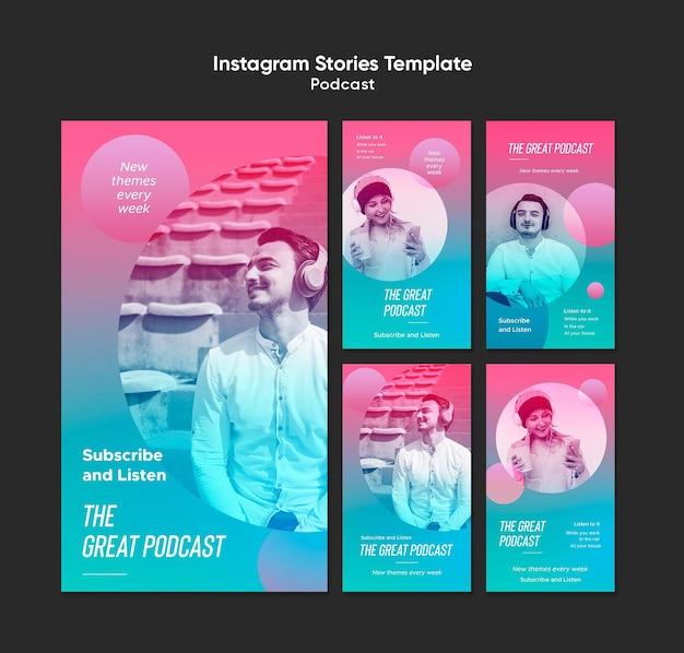 Modèle d'histoires instagram de podcast radio