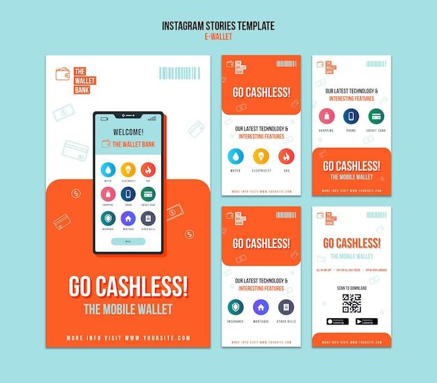 Modèle d'histoires instagram de portefeuille électronique