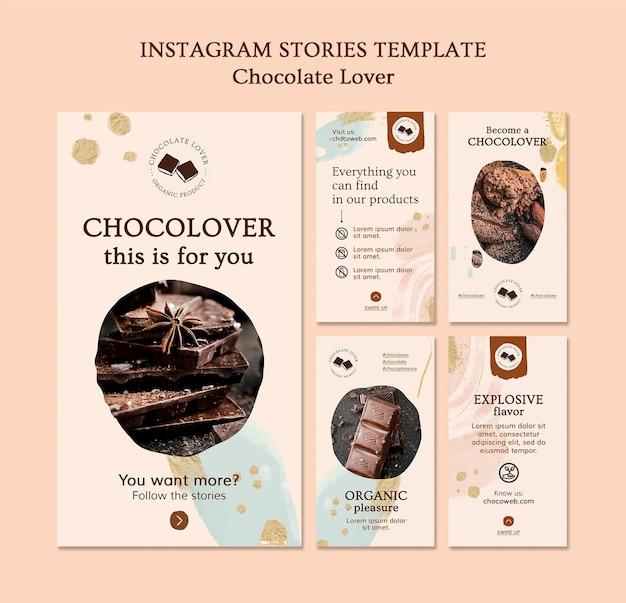 Modèle d'histoires instagram pour amoureux du chocolat