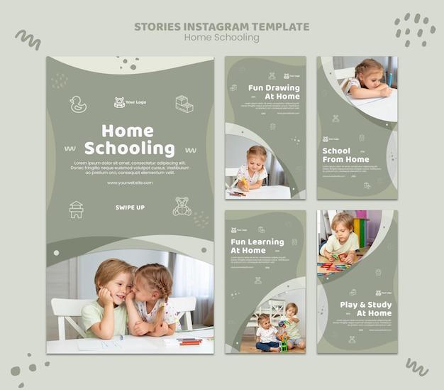 Modèle d'histoires instagram pour l'enseignement à domicile