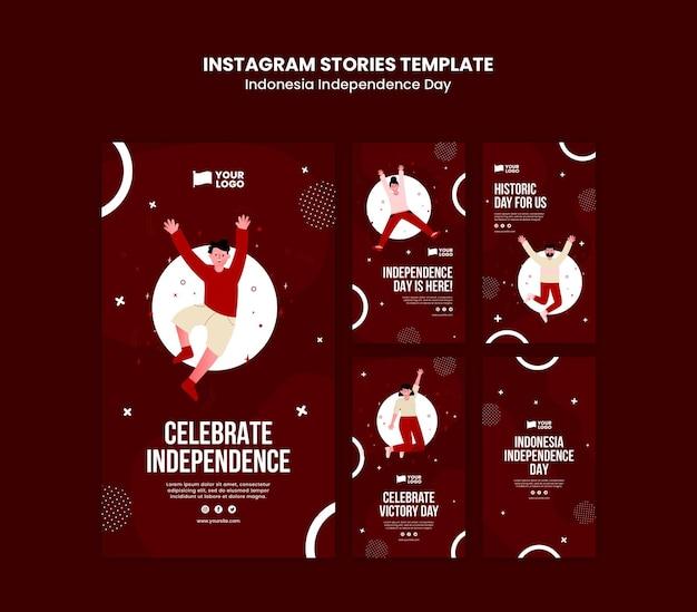 Modèle d'histoires instagram pour la fête de l'indépendance de l'indonésie