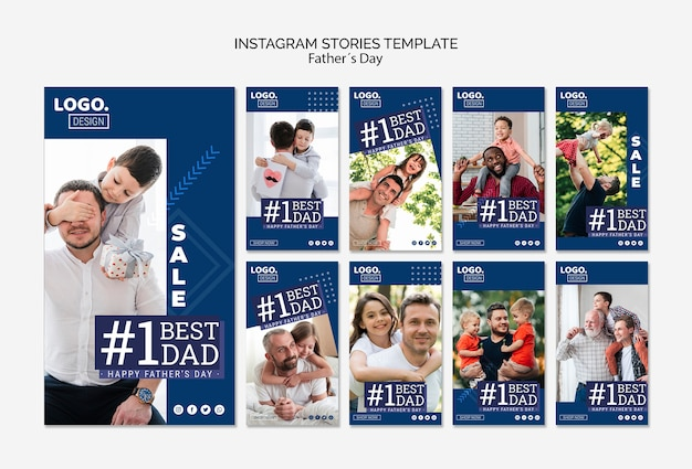 Modèle d'histoires instagram pour la fête des pères heureux