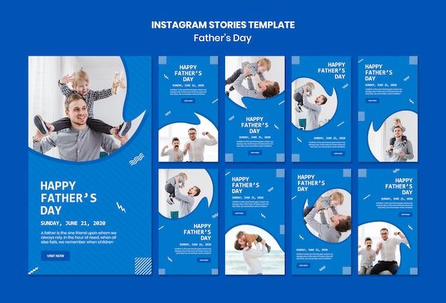 Modèle d'histoires instagram pour la fête des pères