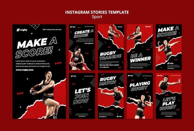 Modèle d'histoires instagram pour jouer au rugby
