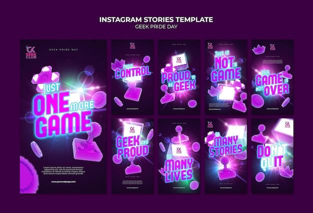 Modèle d'histoires instagram pour le jour de la fierté geek