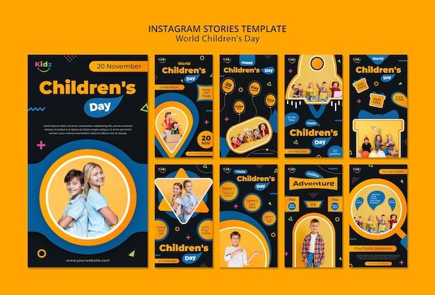 Modèle d'histoires instagram pour la journée des enfants