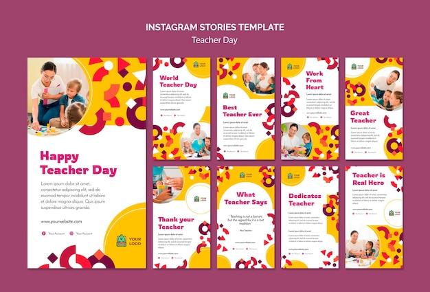 Modèle d'histoires instagram pour la journée des enseignants
