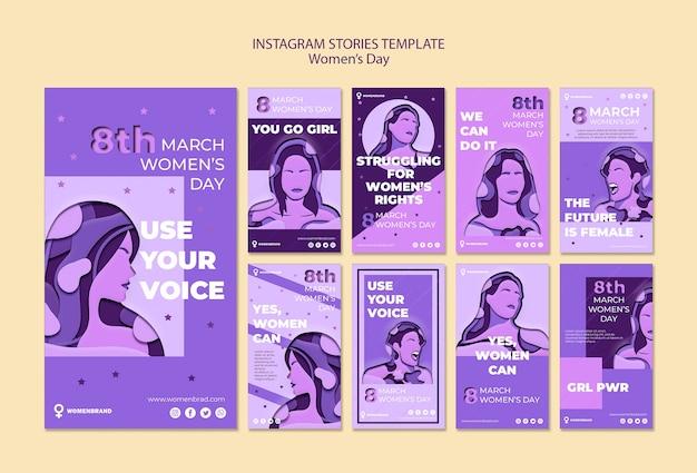 Modèle d'histoires instagram pour la journée de la femme