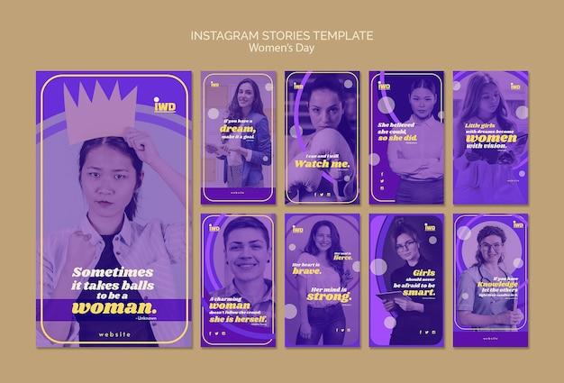 Modèle d'histoires instagram pour la journée des femmes
