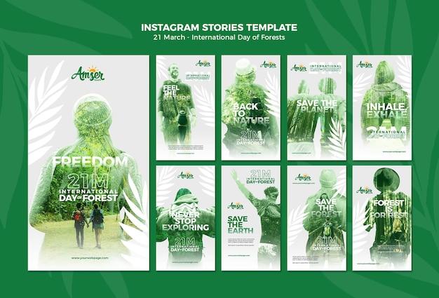 Modèle d'histoires instagram pour la journée des forêts avec photo
