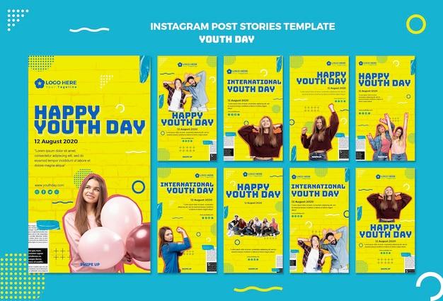 Modèle d'histoires instagram pour la journée de la jeunesse