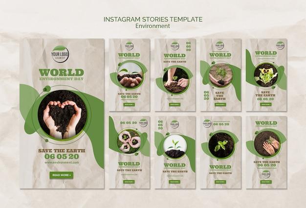Modèle d'histoires instagram pour la journée mondiale de l'environnement