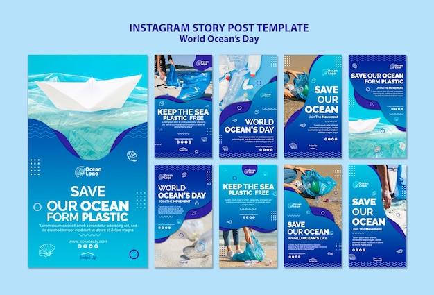 Modèle d'histoires instagram pour la journée mondiale des océans