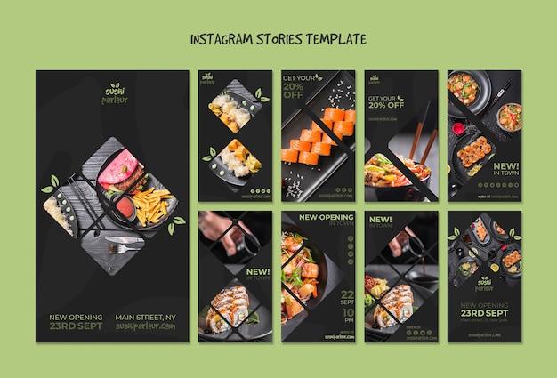 Modèle d'histoires instagram pour un restaurant japonais