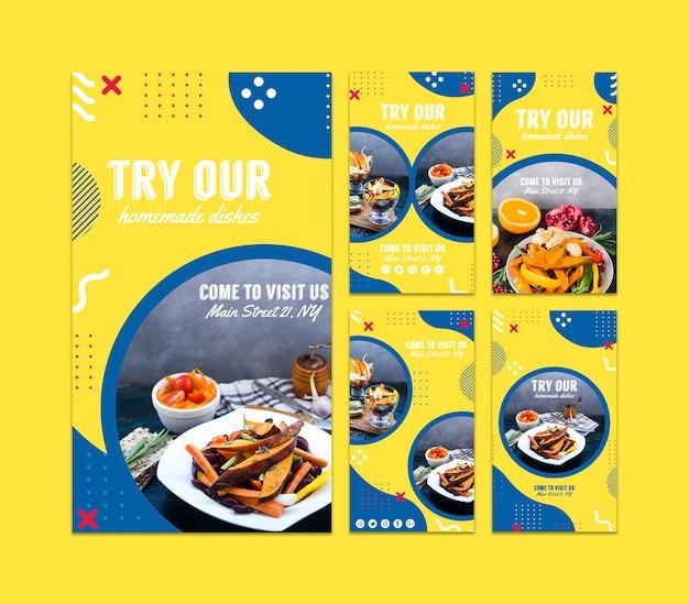 Modèle d'histoires instagram pour un restaurant de style memphis