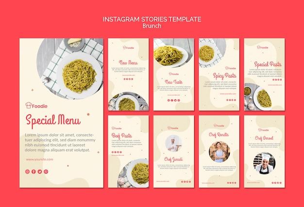 Modèle d'histoires instagram pour restaurant