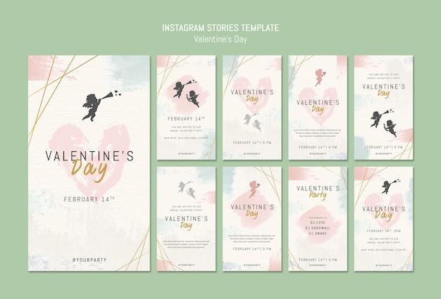 Modèle d'histoires instagram pour la saint-valentin