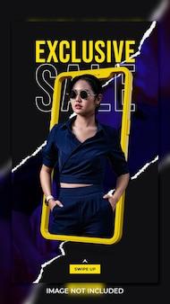 Modèle d'histoires instagram de publication de médias sociaux de bannière de vente de mode exclusive