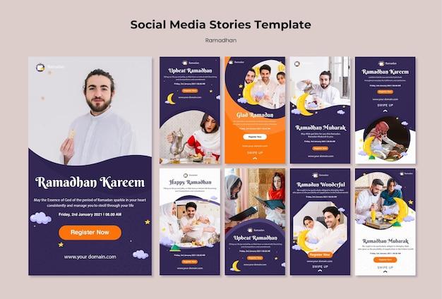 Modèle d'histoires instagram de ramadan avec photo