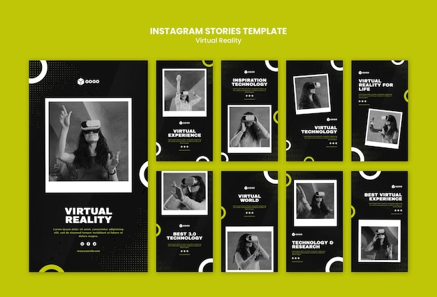 Modèle d'histoires instagram de réalité virtuelle