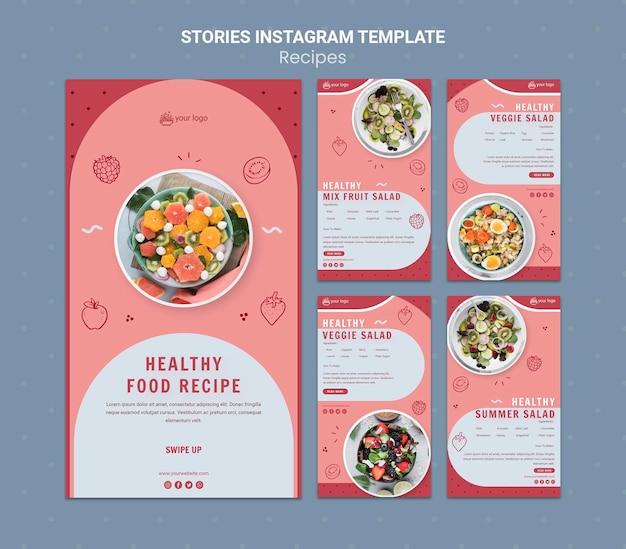 Modèle d'histoires instagram de recette d'aliments sains