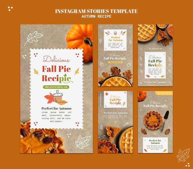 Modèle d'histoires instagram de recette d'automne