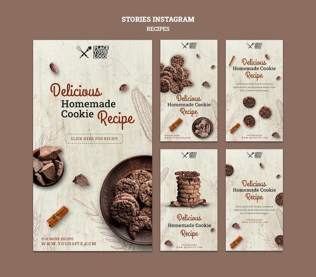 Modèle d'histoires instagram de recette de cookie