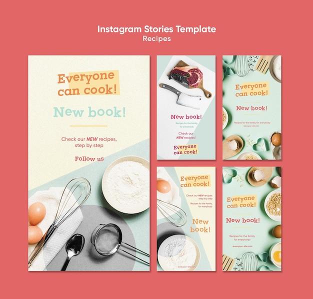 Modèle d'histoires instagram de recettes de cuisine