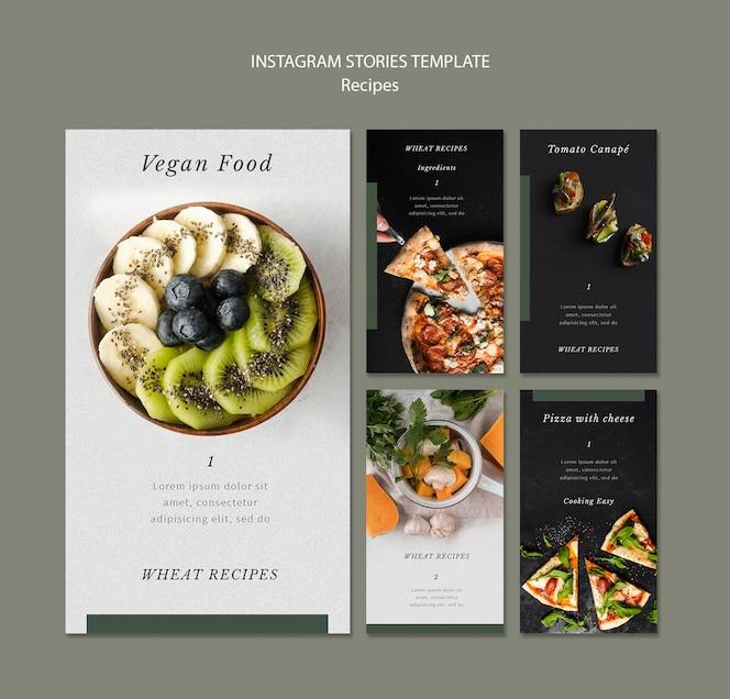 Modèle d'histoires instagram de recettes délicieuses