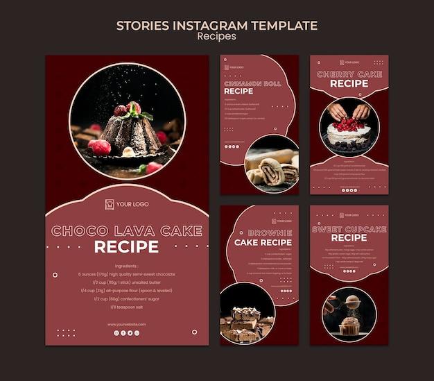 Modèle d'histoires instagram de recettes de desserts