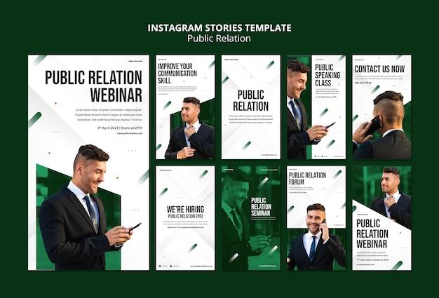 Modèle d'histoires instagram de relations publiques