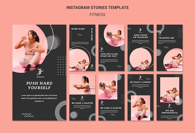 Modèle d'histoires instagram de remise en forme