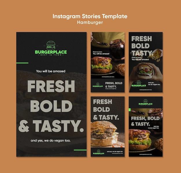 Modèle d'histoires instagram de restaurant de hamburgers