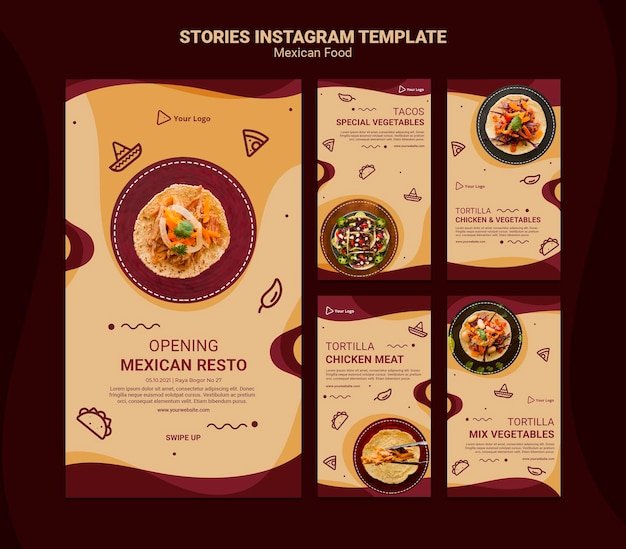 Modèle d'histoires instagram de restaurant mexicain