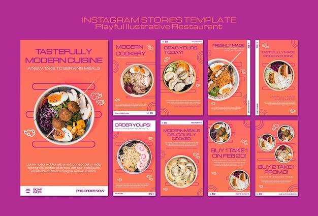 Modèle d'histoires instagram de restaurant de nouilles