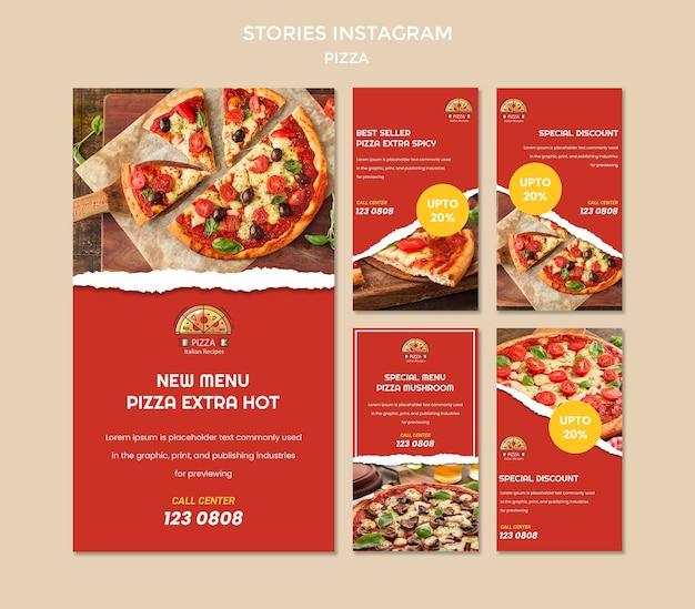Modèle d'histoires instagram de restaurant de pizza