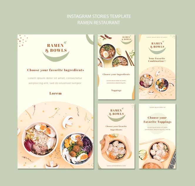 Modèle d'histoires instagram de restaurant ramen