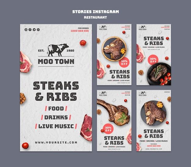 Modèle d'histoires instagram de restaurant de steak
