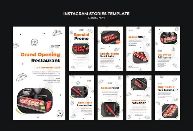 Modèle d'histoires instagram de restaurant de sushi