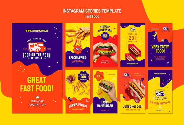 Modèle d'histoires instagram de restauration rapide