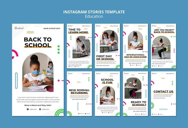 Modèle d'histoires instagram de retour à l'école