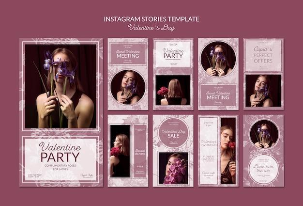 Modèle d'histoires instagram de la saint-valentin