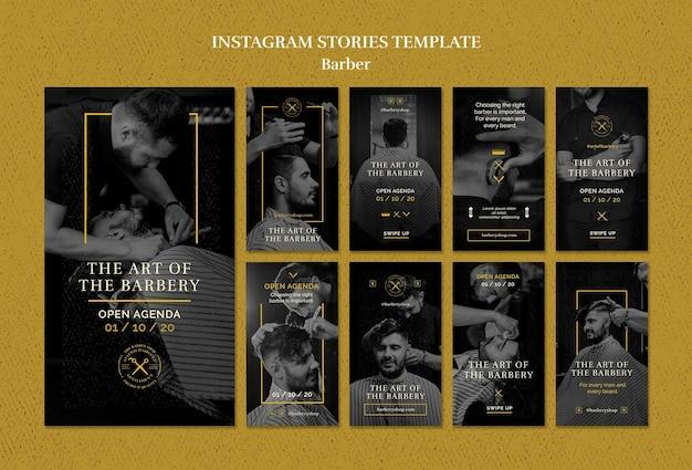 Modèle d'histoires instagram de salon de coiffure