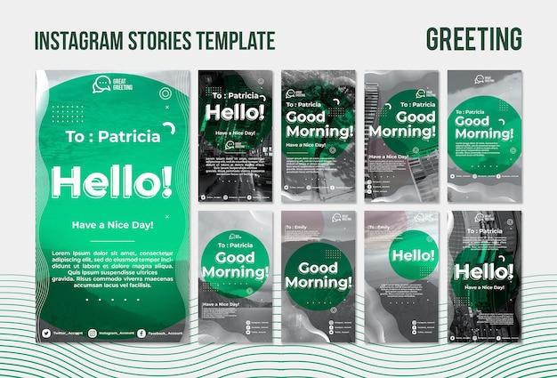 Modèle d'histoires instagram de salutations